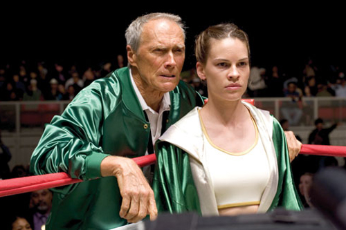 Million Dollar Baby (2004): Eastwood with his co-star Hilary Swank. - photo courtesy Warner Bros. Entertainment Inc.