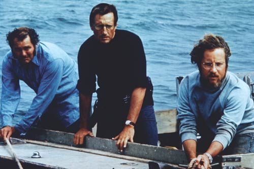 """Show me the way to go home"": Robert Shaw, Roy Scheider and Richard Dreyfuss are men on a mission in Spielberg's Jaws. - photo courtesy Universal Studios."