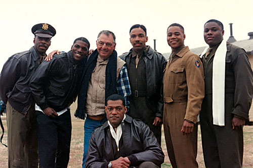 AIRBORNE: Robert Markowitz (center) with the cast of Tuskegee Airmen.