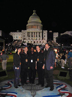 CAPITOL JOB: (left to right) Lynn Finkel, Jeffry Gitter, Arthur Lewis, Garry Hood and Dean Gordon in Washington, D.C. working the National Memorial Day Concert in 2005.