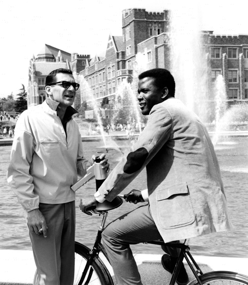 The Slender Thread (1965): Pollack on the set of his first feature with Sidney Poitier. - photo courtesy Academy of Motion Picture Arts and Sciences.