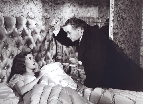 KILLER'S KISS: Edward G. Robinson gets his revenge on Joan Bennett in Fritz Lang's Scarlet Street, a film that has delighted Terry Zwigoff since he was a child.- photo courtesy Academy of Motion Picture Arts and Sciences click links for IMDB info.
