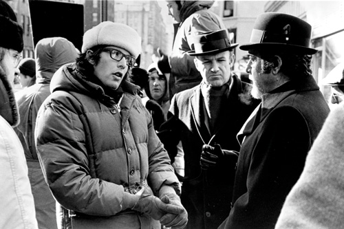 MAKING MAYHEM: Friedkin on the set with The French Connection's stars Gene Hackman (center) and Fernando Rey. - photo courtesy of the Academy of Motion Picture Arts and Sciences -