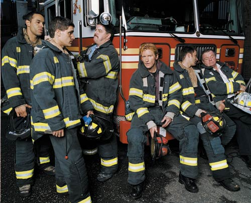 THE GROWN UPS: Peter Tolan created the series RESCUE ME about life in a firehouse post 9/11, with Dennis Leary (center).