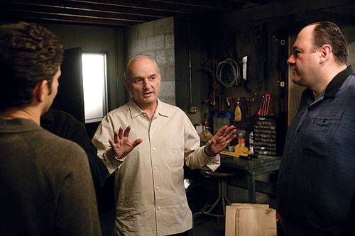 TOP GUN: The series was the vision of creator David Chase (center), here in Tony's basement with Michael Imperioli (left) and James Gandolfini, but he also gave the directors artistic freedom. - Photo: DGA Archives