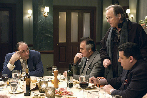 WISEGUYS: The late John Patterson (standing) directs actors James Gandolfini, Tony Sirica and Steven Schrippa. - Photo: Abbot Gense