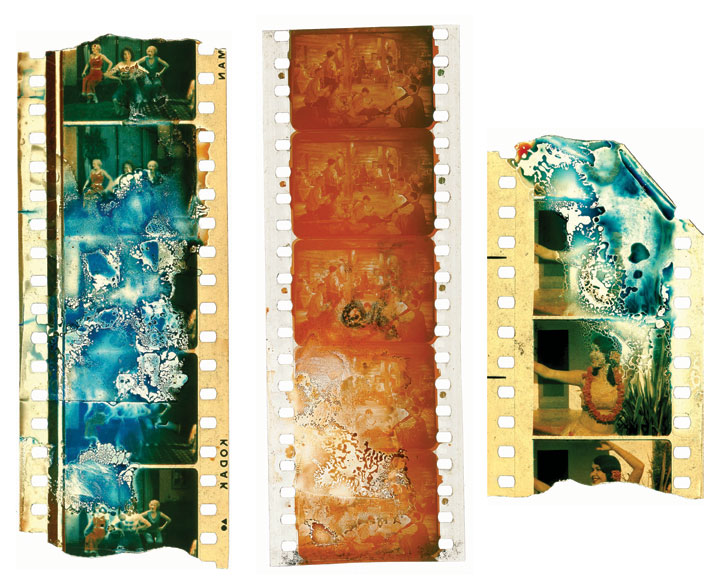 STRIPPED DOWN: Nitrate film (above) is chemically unstable and eventually turns to dust; colors fade on acetate film and it decomposes. About half of the films made in America before 1950 are lost. - Photo: Courtesy of George Eastman House