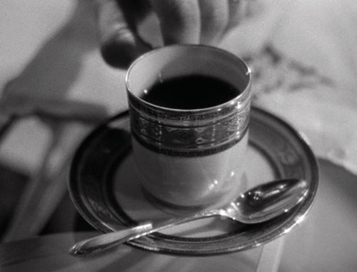 THE AROMA OF DEATH: The near-lethal cup of coffee. - Screenpull: RKO/The Criterion Collection