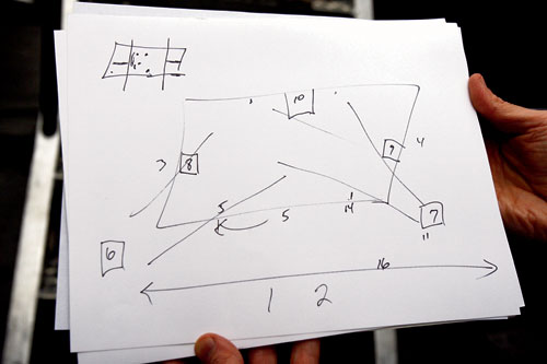 THE GAME PLAN: Moore's diagram for the placement of his 14 cameras. Photo by Wendi Kaminski