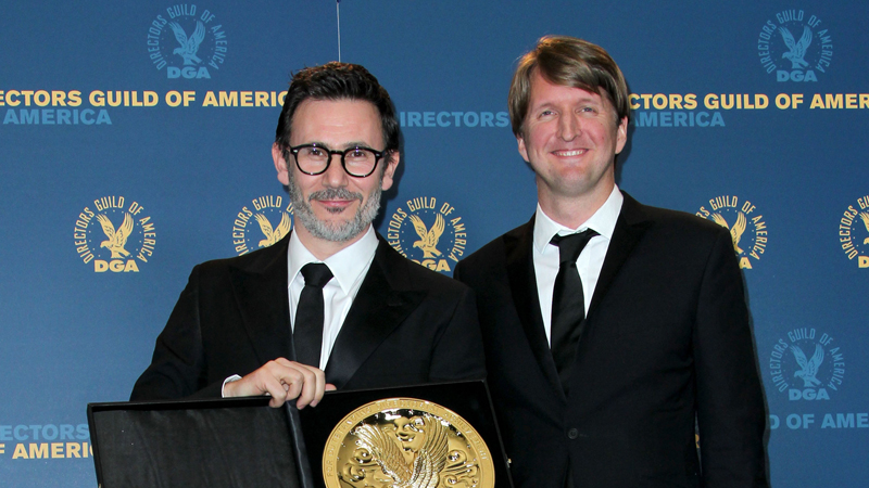 64th Awards Winner Michel Hazanavicius with Tom Hooper