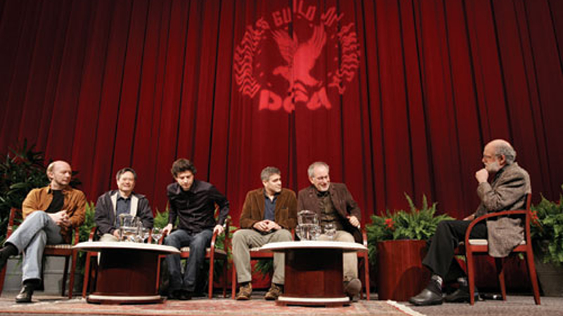 2005 DGA Feature Film Award Nominees Directors Haggis (Crash), Ang Lee (Brokeback Mountain), Bennett Miller (Capote), George Clooney (Good Night, and Good Luck), Paul and Steven Spielberg (Munich) with moderator/DGA Board Member Jeremy Kagan.