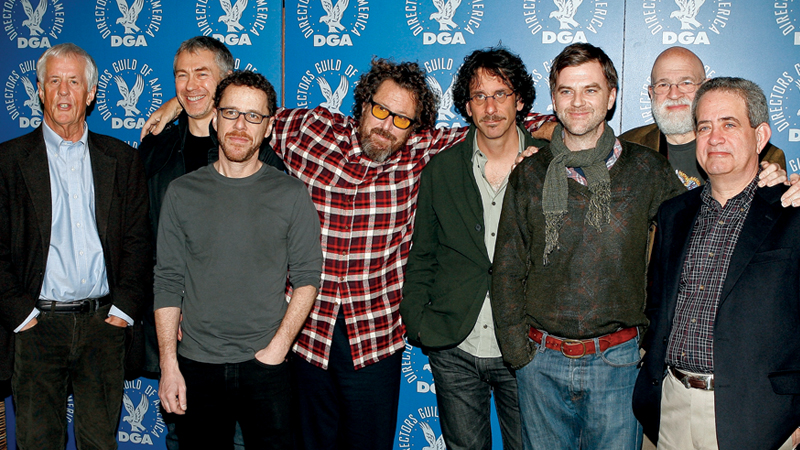 DGA President Michael Apted; 2007 Feature Film Nominees Tony Gilroy, Ethan Coen, Julian Schnabel, Joel Coen, and Paul Thomas Anderson; Meet the Nominees: Feature Film Symposium moderator Jeremy Kagan; and DGA National Executive Director Jay D. Roth