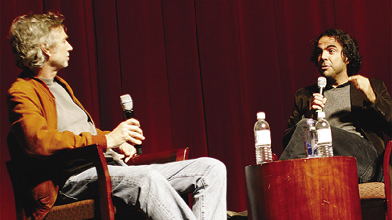Onstage with moderator Curtis Hanson.