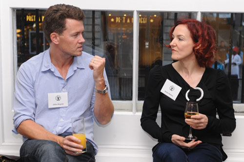 Director Elliot Hegarty catches up with Director Jackie Oudney at the reception.