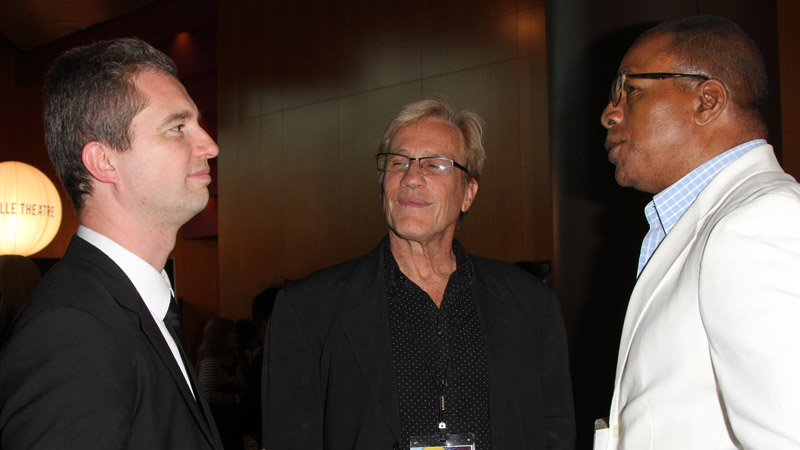 Consul General of France in Los Angeles, David Martinon chats with DGA Alternate Board Members Randal Kleiser and Carl Weathers.