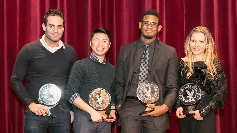 DGA East Coast Student Film Award-winners pose together for a photo