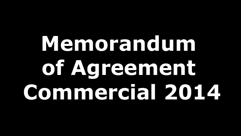 Memorandum of Agreement Commercial 2014