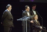 Coppola introduces the first DGA Honors 2002 recipients Michael Barker, Marcie Bloom and Tom Bernard of Sony Pictures.