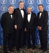 """60 Minutes"" reporters Morley Safer and Mike Wallace join Honoree Don Hewitt and presenter Howard Stringer."