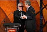 Scorsese greets his frequent collaborator and friend, DGA Honoree Robert DeNiro. (Photo by Matthew Peyton/Getty Images).