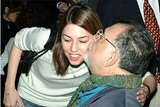 2003 Feature Film Nominee Sofia Coppola is greeted by her father, 1998 DGA Lifetime Achievement Award Recipient Francis Ford Coppola.