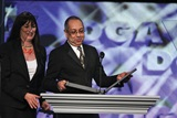 Anjelica Huston presents the Movies for Television Award to George C. Wolfe and accepts on behalf of Joseph Sargent.