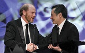 Accepting the 2005 Feature Film Award from presenter Ron Howard.