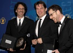 "The Coens celebrate their DGA nomination with their ""No Country for Old Men"" star Josh Brolin."