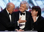 "Reiner chats with Sean Penn's ""Into the Wild"" cast members Hal Holbrook and Emile Hirsch."