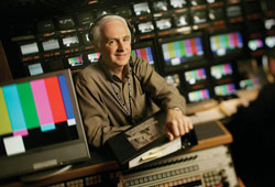 AD LIBBING: Jim Tanker often has to improvise in the control room.- photo by Al Selb/Los Angeles Times