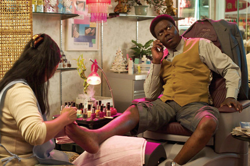 NAILED DOWN: Robinson painting Bennett's nails in Scarlet Street (top)<br /> was Zwigoff's inspiration for Bernie Mac's pedicure in<br /> <em>Bad Santa</em>. - photos by (Top) Photofest; (bottom) Miramax - click links for IMDB info.