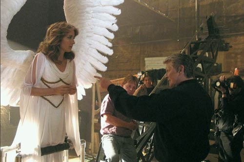FLIGHT PLAN: Nichols helps Emma Thompson take off in Angels in America (2003). - photo courtesy HBO