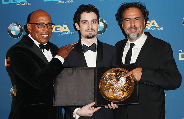 69th DGA Awards Feature Film Winner Damien Chazelle with Paris Barclay and Alejandro Inarritu