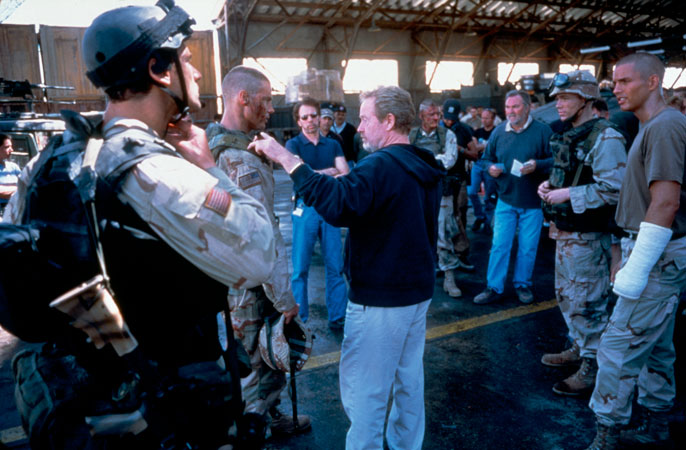 Ridley Scott on the set of Black Hawk Down